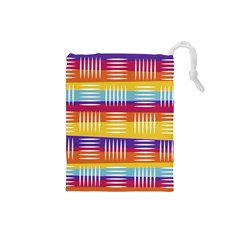 Background Line Rainbow Drawstring Pouch (Small)