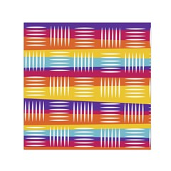 Background Line Rainbow Small Satin Scarf (Square)