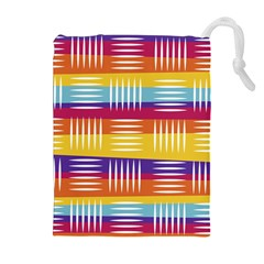 Background Line Rainbow Drawstring Pouch (XL)