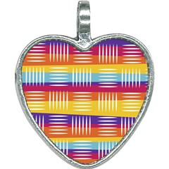 Background Line Rainbow Heart Necklace