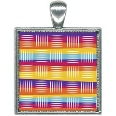 Background Line Rainbow Square Necklace