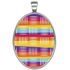 Background Line Rainbow Oval Necklace