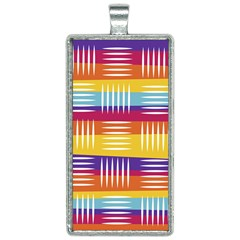Background Line Rainbow Rectangle Necklace