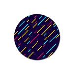 Background Lines Forms Rubber Round Coaster (4 pack)  Front