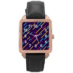 Background Lines Forms Rose Gold Leather Watch  Front
