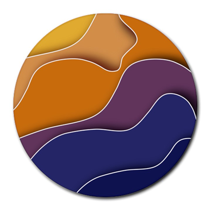 Autumn Waves Round Mousepads