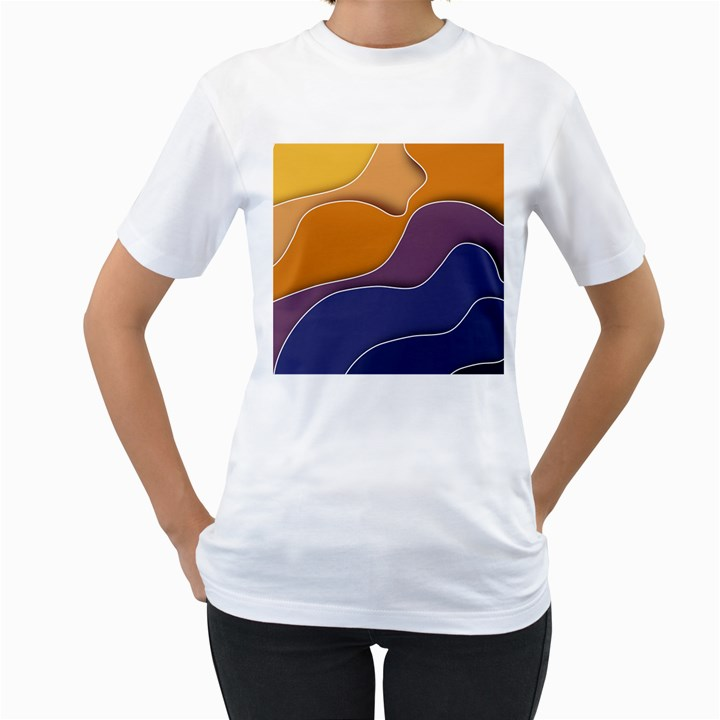 Autumn Waves Women s T-Shirt (White) (Two Sided)