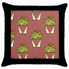 Cactus Pattern Background Texture Throw Pillow Case (black) by HermanTelo