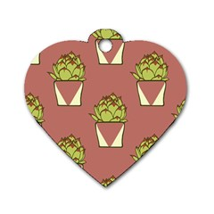 Cactus Pattern Background Texture Dog Tag Heart (one Side) by HermanTelo