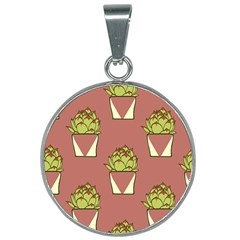 Cactus Pattern Background Texture 25mm Round Necklace