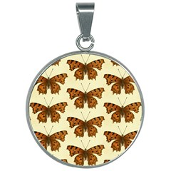 Butterflies Insects Pattern 30mm Round Necklace