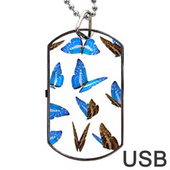Butterfly Unique Background Dog Tag Usb Flash (one Side)