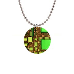 Blocks Cubes Green 1  Button Necklace