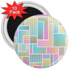 Color Blocks Abstract Background 3  Magnets (10 Pack)  by HermanTelo