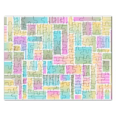 Color Blocks Abstract Background Rectangular Jigsaw Puzzl by HermanTelo