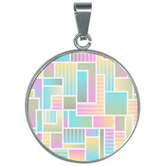 Color Blocks Abstract Background 30mm Round Necklace by HermanTelo