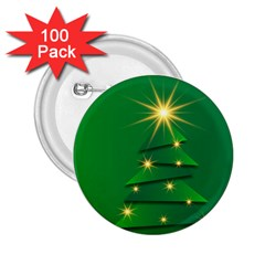 Christmas Tree Green 2 25  Buttons (100 Pack)  by HermanTelo