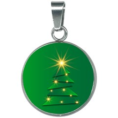 Christmas Tree Green 20mm Round Necklace