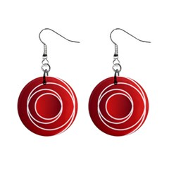 Circles Red Mini Button Earrings
