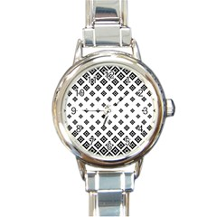 Concentric Plaid Round Italian Charm Watch by HermanTelo