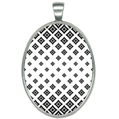 Concentric Plaid Oval Necklace