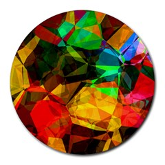 Color Abstract Polygon Round Mousepads
