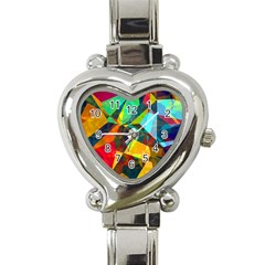 Color Abstract Polygon Background Heart Italian Charm Watch by HermanTelo