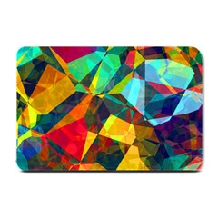 Color Abstract Polygon Background Small Doormat  by HermanTelo