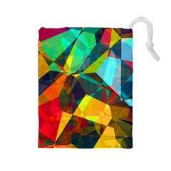 Color Abstract Polygon Background Drawstring Pouch (large)