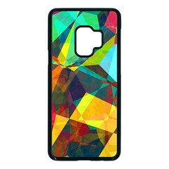 Color Abstract Polygon Background Samsung Galaxy S9 Seamless Case(black) by HermanTelo