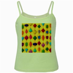 Colorful Background Stones Jewels Green Spaghetti Tank by HermanTelo