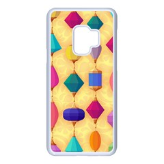 Colorful Background Stones Jewels Samsung Galaxy S9 Seamless Case(white)