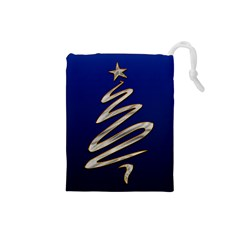 Christmas Tree Grey Blue Drawstring Pouch (small)