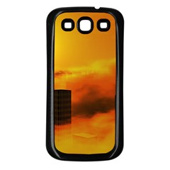 City Sun Clouds Smog Sky Yellow Samsung Galaxy S3 Back Case (black)