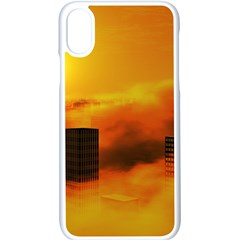 City Sun Clouds Smog Sky Yellow Iphone Xs Seamless Case (white)