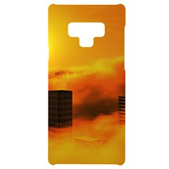 City Sun Clouds Smog Sky Yellow Samsung Note 9 Black Uv Print Case  by HermanTelo