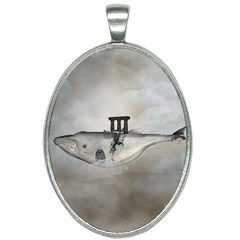 Awesome Whale In The Sky Oval Necklace by FantasyWorld7