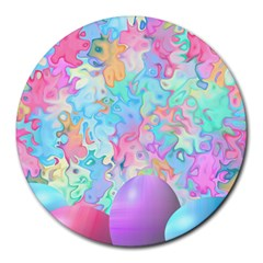 Eggs Happy Easter Rainbow Round Mousepads