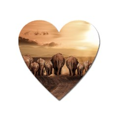 Elephant Dust Road Africa Savannah Heart Magnet by HermanTelo