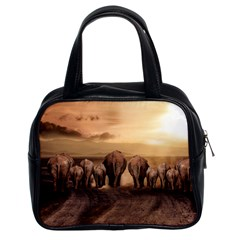 Elephant Dust Road Africa Savannah Classic Handbag (two Sides) by HermanTelo