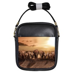Elephant Dust Road Africa Savannah Girls Sling Bag by HermanTelo