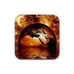 Earth Globe Water Fire Flame Rubber Coaster (square)  by HermanTelo
