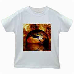 Earth Globe Water Fire Flame Kids White T-shirts by HermanTelo