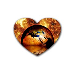 Earth Globe Water Fire Flame Rubber Coaster (heart)  by HermanTelo