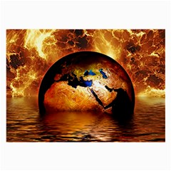 Earth Globe Water Fire Flame Large Glasses Cloth (2 Sides) by HermanTelo