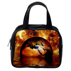 Earth Globe Water Fire Flame Classic Handbag (one Side) by HermanTelo