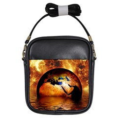 Earth Globe Water Fire Flame Girls Sling Bag by HermanTelo