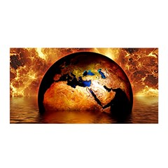 Earth Globe Water Fire Flame Satin Wrap
