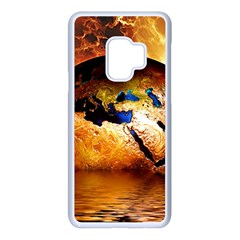 Earth Globe Water Fire Flame Samsung Galaxy S9 Seamless Case(white)