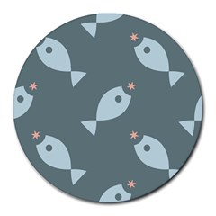 Fish Star Water Pattern Round Mousepads